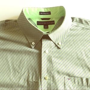 Tommy Hilfiger lime green 80s 2 ply button down